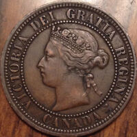1876H CANADA LARGE 1 CENT IN BEAUTIFUL HIGH GRADE CLIPPED PLANCHET