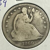 1869 S SEATED LIBERTY SILVER HALF DOLLAR  COIN