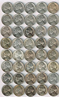 UNCIRCULATED ROLL OF JEFFERSON NICKELS. 21 DATES/MINT MARKS. 1938 TO 1952 S.