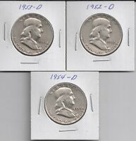 THREE FRANKLIN HALF DOLLARS,1952 D 1953 D &1954D  90 SILVER