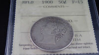 1900 NEWFOUNDLAND 50 CENT SILVER COIN  ICCS CERTIFIED F 15