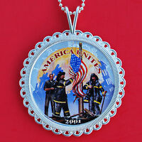 2001 1 OZ AMERICAN SILVER EAGLE COLORIZED COIN SILVER NECKLACE REMEMBER 9/11 NEW