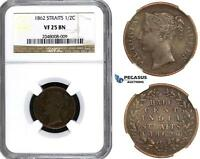 AA164 STRAITS SETTLEMENTS VICTORIA 1/2 CENT 1862 NGC VF25BN