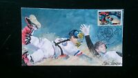 FDC 1992 FIRST DAY 2619 OLYMPIC BASEBALL HAND PAINTED ELAINE THOMPSON  8/50