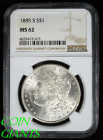 1885-S VAM-2 DOUBLED 5 S$1 MORGAN SILVER DOLLAR NGC MINT STATE 62 BU UNC KEY DATE COIN