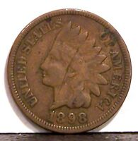 1898 EXTRA FINE INDIAN HEAD CENT WITH FULL LIBERTY  1907 BONUS CENT.