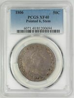 1806 50C DRAPED BUST, O-115A, POINTED 6 STEM - TYPE 2 HERALDIC EAGLE - PCGS EXTRA FINE 40