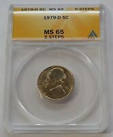 1979 D  JEFFERSON NICKEL  ANACS MS 65   5 FULL STEPS
