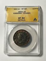 1831 US LIBERTY HEAD LARGE CENT CORRODED CLEANED ANACS  FINE 30 DETAILS
