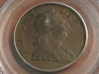 1774 ENGLAND 1/2D PCGS AU55 GLOSSY BROWN BEAUTY CHN