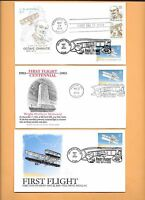 US 3783 FDC 1ST POWERED FLIGHT 2003 WRIGHT BROTHERS COLLECTION OF 6 W/ 1 COMBO