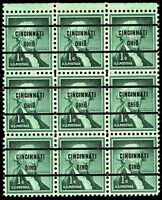 USA STAMP 1031 1C LIBERTY SERIES 1958 BLK OF 9 MNH/OG PRECANCEL