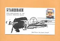 US FDC 1990 FIRST DAY COVER 2448 JOHN WAYNE STAGECOACH COIN 4 CACHET 16/54