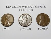 LOT OF 3 LINCOLN WHEAT CENTS 1930 1930-D 1930-S  COMBINED SHIPPING LOT E10
