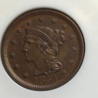 1851 LARGE CENT NGC MS63 BN MARK FREE ORIGINAL NEW ESTATE DEAL CHN