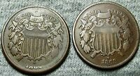 1864 1868 TWO CENT PIECES 2CP --- TYPE COINS LOT --- W154