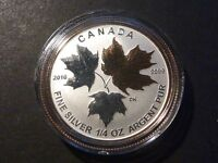 CANADA 2016 $3 SILVER MAPLE LEAF 1/4 OZ SINGLE FROM FRACTIONAL GOLD PLATED SET