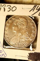 1830 CAPPED BUST SILVER HALF DOLLAR AU / UNC GOLD TONED   ESTATE COLLECTION