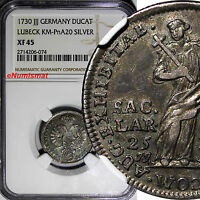 GERMAN STATES LBECK SILVER 1730 JJJ DUCAT NGC XF45 TOP GRADED BY NGC  KM PNA20