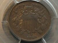 1864 SMALL MOTTO 2C. PCE PCGS VF35 INCREDIBLE FOR GRADE SCRATCH-FREE HOLDER CHN