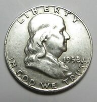 1958 D FLANKLIN HALF DOLLAR   90 SILVER    COMBINED SHIPPING  LOT E25
