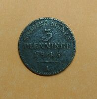 GERMAN STATES PRUSSIA 3 PFENNINGE 1846 A OLD WORLD COIN