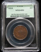 1864 LM TWO CENT PIECE PCGS MINT STATE 64 BN IN OGH