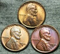 1930 1930-S 1935-S LINCOLN WHEAT CENTS --- GEM BU LOT --- W500
