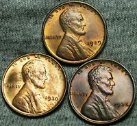 1929 1930 1935 LINCOLN WHEAT CENTS     GEM BU CONDITION LOT     W504
