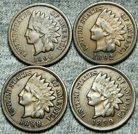 1890 1892 1898 1899 INDIAN HEAD CENTS     NICE LOT     W550