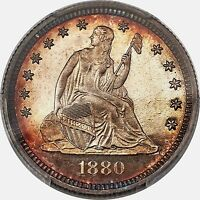 1880 LIBERTY SEATED QUARTER 25C PCGS PR67 CAM CAMEO POP 13/2 PG   $7,250