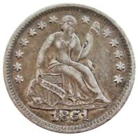1851 O SILVER UNITED STATES SEATED LIBERTY HALF DIME COIN EXTRA FINE  CONDITION