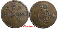 SWEDEN GUSTAF IV 1802 1/2 SKILLING OVERSTRUCK ON 1 ORE 1730 1769 BROWN KM 565