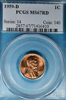1959 D LINCOLN MEMORIAL CENT PCGS MS67RD  GORGEOUS BRIGHT RED EXAMPLE