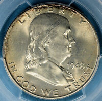 1948 FRANKLIN HALF DOLLAR PCGS MS65FBL  LIGHT TONE NICE SURFACES FIRST YEAR