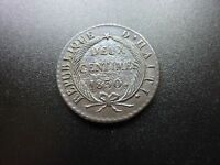 1830 HAITI 2 DEUX CENTIMES FRENCH/FRANCE COLONY COIN