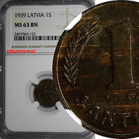 LATVIA BRONZE 1939 1 SANTIMS NGC MS63 BN NICE COIN KM 10