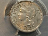 1888 3C. NICKEL PCGS MS62 MINTAGE 36,500  DATE ESTATE COLLECTION CHN