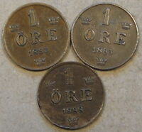 SWEDEN 3 ONE ORE 1883,85,88BENT BETTER GRADE AS PICTURED
