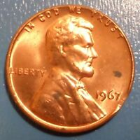1967 CLIPPED PLANCHET LINCOLN CENT UNCIRCULATED BU SMALL CLIP  COMBINED SHIPPING
