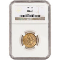 US GOLD $5 LIBERTY HEAD HALF EAGLE   NGC MS62   RANDOM DATE
