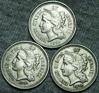 1865 1866 1870 COPPER NICKEL THREE CENT PIECES 3CP     STUNNING LOT     W396