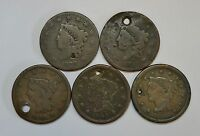 1829 35 40 49 & 51  LOT OF 5 LARGE U.S. CENTS YOU BE THE JUDGE OF THE GRADE