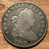 1799 DRAPED BUST $1 SILVER DOLLAR F HOLED
