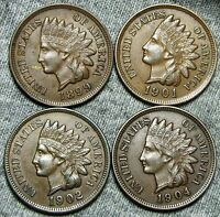 1899  1901  1902  1904 INDIAN HEAD CENTS     NICE LOT     T413