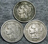 186518701881 COPPER NICKEL THREE CENT PIECES 3CP     TYPE COINS LOT     N267