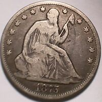 1875 SEATED LIBERTY 50C NO PROBLEM CIRCULATED COIN