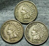 1859  1861  1863 COPPER NICKEL INDIAN HEAD CENTS     TYPE COIN LOT     W523