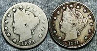 1883 WITH CENTS 1911 LIBERTY V NICKEL LOT              D147