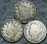 1883 WITH CENTS 1906 1911 LIBERTY V NICKEL LOT              D148